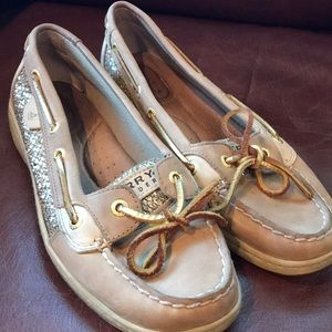 Sperry Top-Sider with gold details, sz 8,